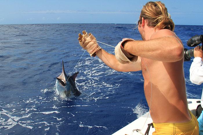 Queensland Weekender host Dean Miller's 250lb black marlin